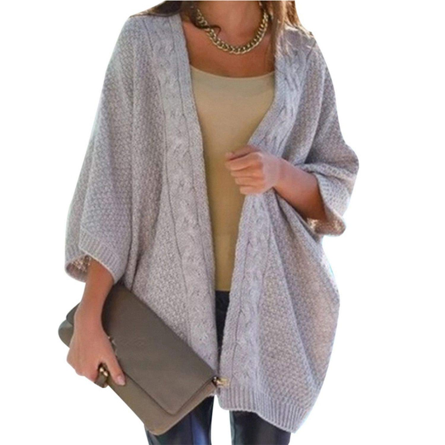 Warm Winter Sweater Women Cardigan Casual Knitting Long Cardigan Female Loose Kimono Cardigan Knitted at Amazon Womens Clothing store: