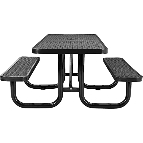 8 ADA Rectangular Picnic Table, Expanded Metal, Black 96 Long