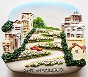 Lombard St.San Francisco USA Resin 3D fridge Refrigerator Thai Magnet Hand Made Craft.