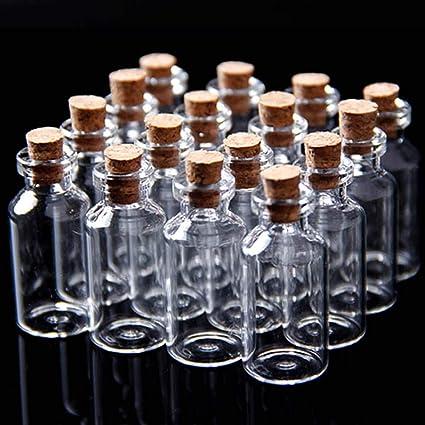 20 unidades Tiny Mini vacío Borrar Cork botellas de vidrio viales