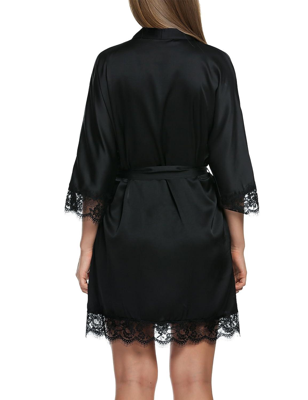 be7bea2c2e MAXMODA Women s Satin Silky Kimono Short Bridesmaid Robe with Pockets S-XXL  at Amazon Women s Clothing store