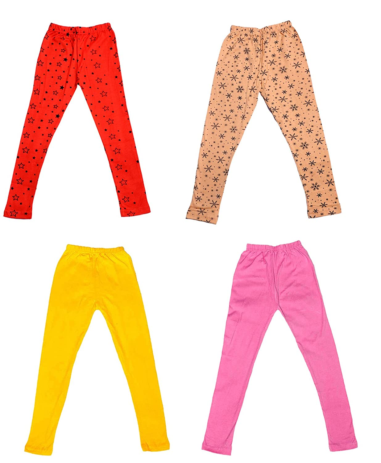 and 2 Cotton Printed Legging Pants Pack Of 4 Indistar Girls 2 Cotton Solid Legging Pants /_Multicolor/_Size-7-8 Years/_71407081619-IW-P4-30