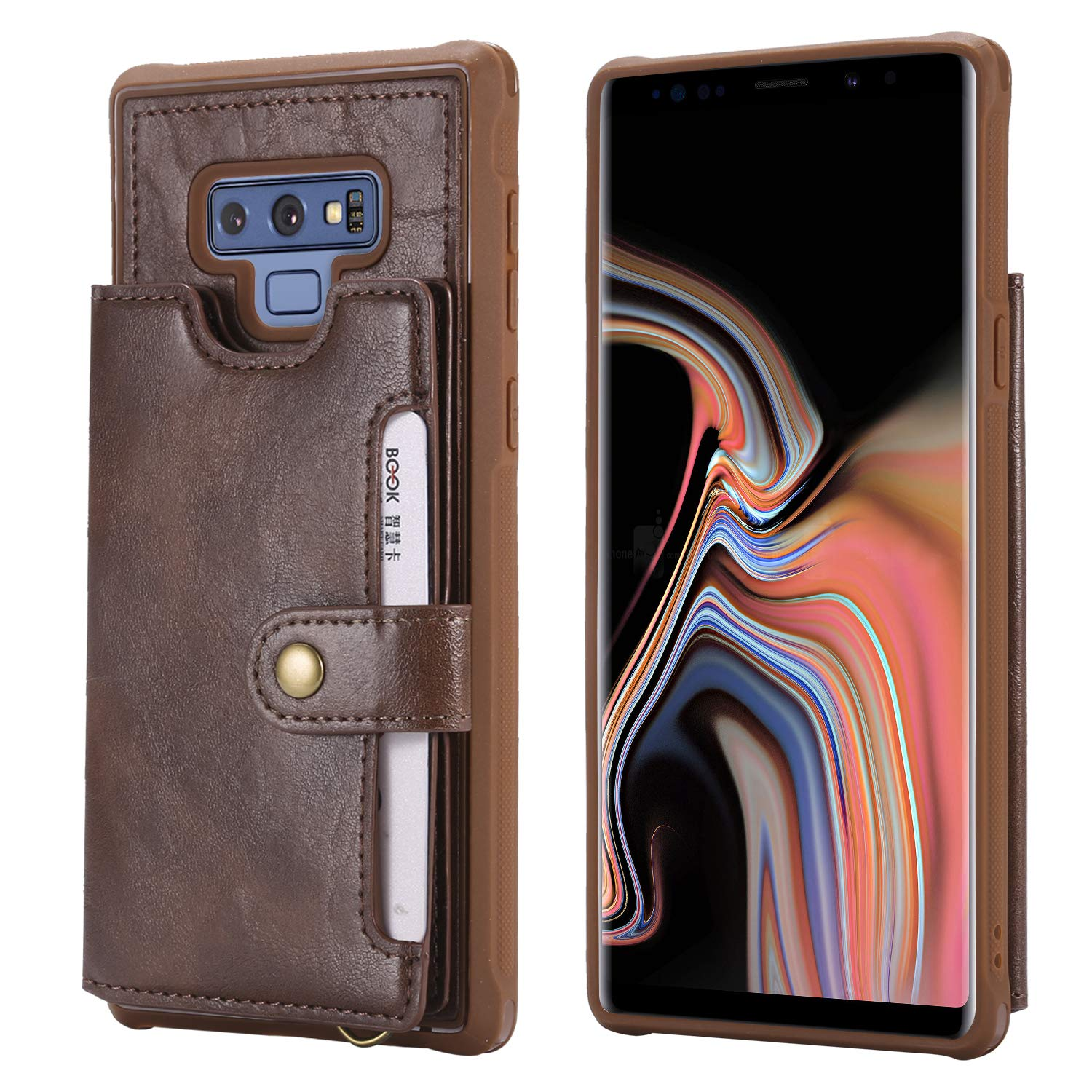 Galaxy Note 8 Case,NowTH Leather Wallet Humanized Card Slot Design 360 Degree of Shockproof Protection Cover for Samsung Galaxy Note 8 (Coffee)