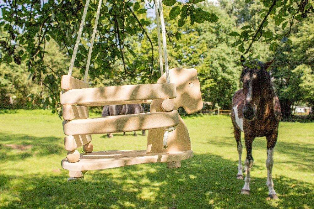 Natur Massivholz Baby-Schaukeltier mit Seil Kinder-Schaukel als Pferd 7012