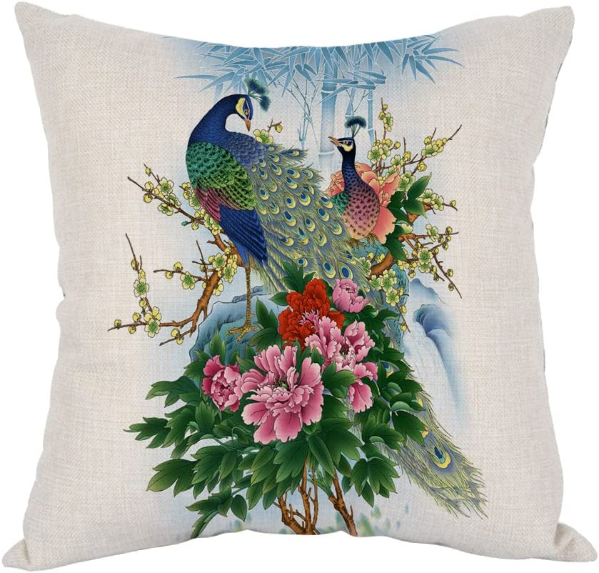 Moslion Peacock Pillow,Home Decor Throw Pillow Cover with Flower Cotton Linen Cushion for Couch/Sofa/Bedroom/Livingroom/Kitchen/Car 18 x 18 inch Square Pillow case