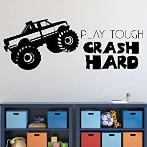 Room Wall Decor | Monster Truck - Play Tough Crash Hard Quote | Vinyl Decal Stickers for Home in Teen, Kids, Baby Boys Bedroom, Bathroom, Nursery or Man Cave | Custom Sizes and Colors Fit Any Themed Living Space