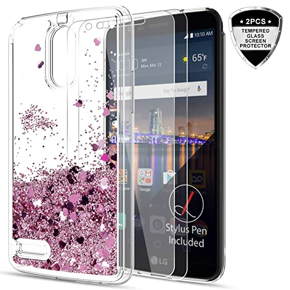 new styles ebeac 9443a LeYi LG Stylo 3 / Stylo 3 Plus/Stylus 3 Case with Tempered Glass Screen  Protector [2 Pack], Cute Design Moving Shiny Quicksand Glitter Girls Women  ...