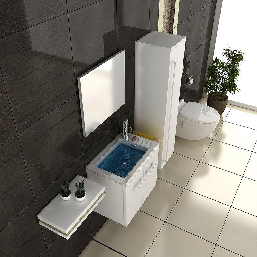 Badezimmerschrank set  Badmöbel SET Waschtisch weiss Hochglanz Design Waschbecken ...