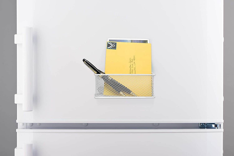 Office Supply Organizer Set of 3 MyGift White Mesh Magnetic Storage Baskets