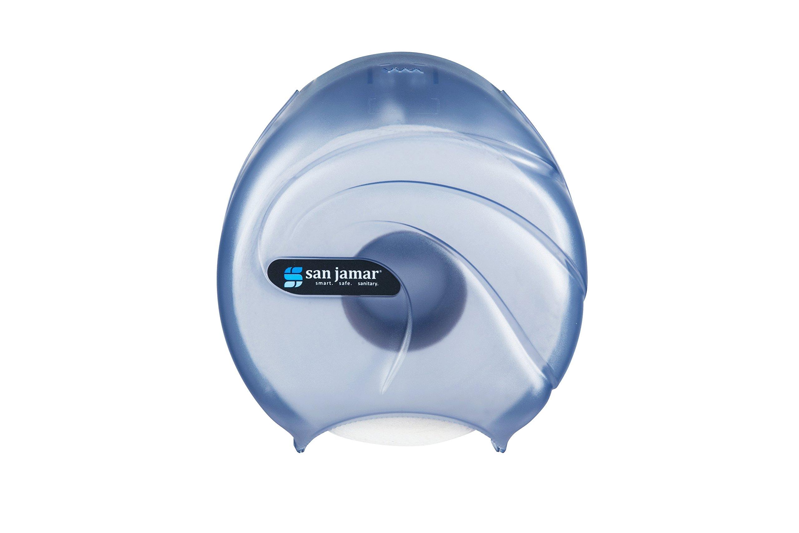 San Jamar R2090 Oceans Single 9'' Jumbo Bath Tissue Dispenser, 10-1/4'' Width x 12'' Height x 5-5/8'' Depth, Arctic Blue