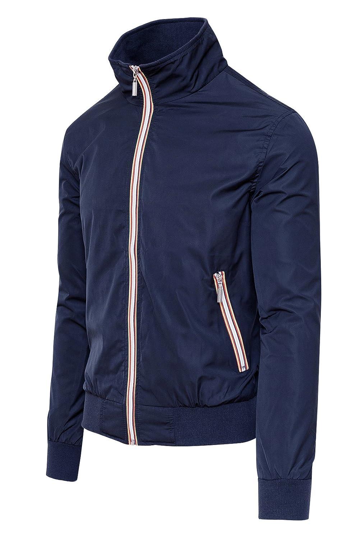 Giubbotto giacca uomo blu casual estivo slim fit giubbino moto impermeabile