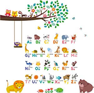 DECOWALL DW-1614P1410 Animal Alphabet ABC Large Branch Owls Kids Wall Stickers Wall Decals Peel and Stick Removable Wall Stickers for Kids Nursery Bedroom Living Room décor