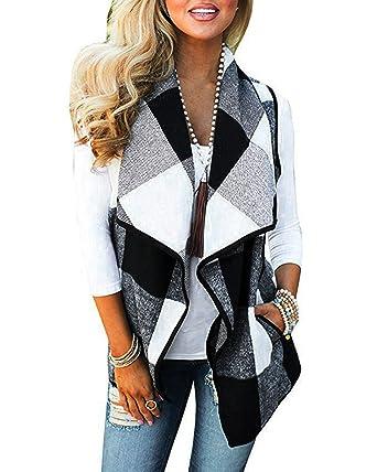 76fa0e129dc1c6 SHOBDW Damen Herbst Mode Simplicity Solid Plaid Drucken Patchwork  Künstliche Pelz Weste Frauen Wild Trendigen Dünn