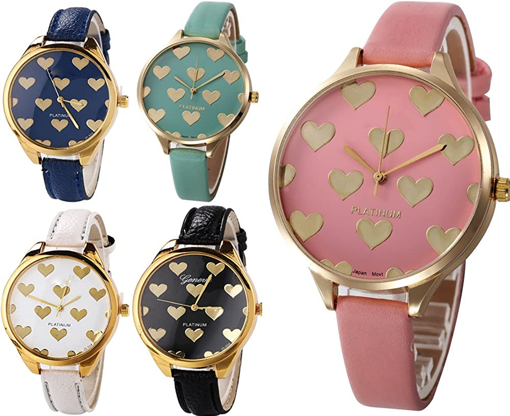 Yunanwa 5 Pack Wholesale Women s Heart Painted Leather Watches Assorted Platinum Wristwatches