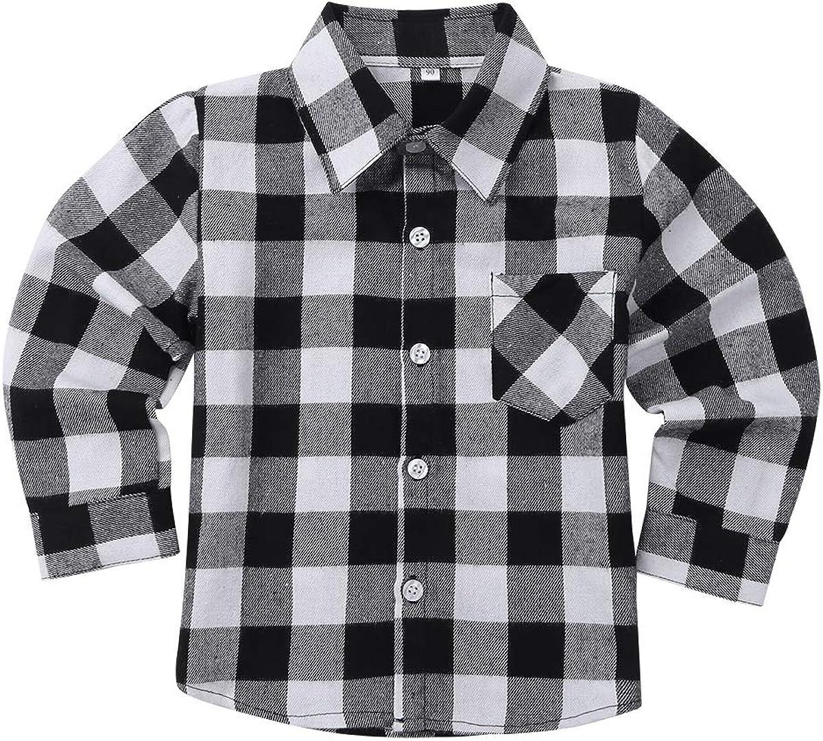 IEFIEL Camisa para Bebé Niños Camisa Cuadros Manga Larga Cuello Solapa Blusa Algodón Primavera Tartan Shirt Escuela Camisa Casual con Botones Bolsillo Frente: Amazon.es: Ropa y accesorios