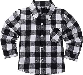 Freebily Unisexo Camisa de Cuadros Algodón Infántil para Niños Niñas Blusa Top de Cuello Clásico Casual con Bolsillo Frente
