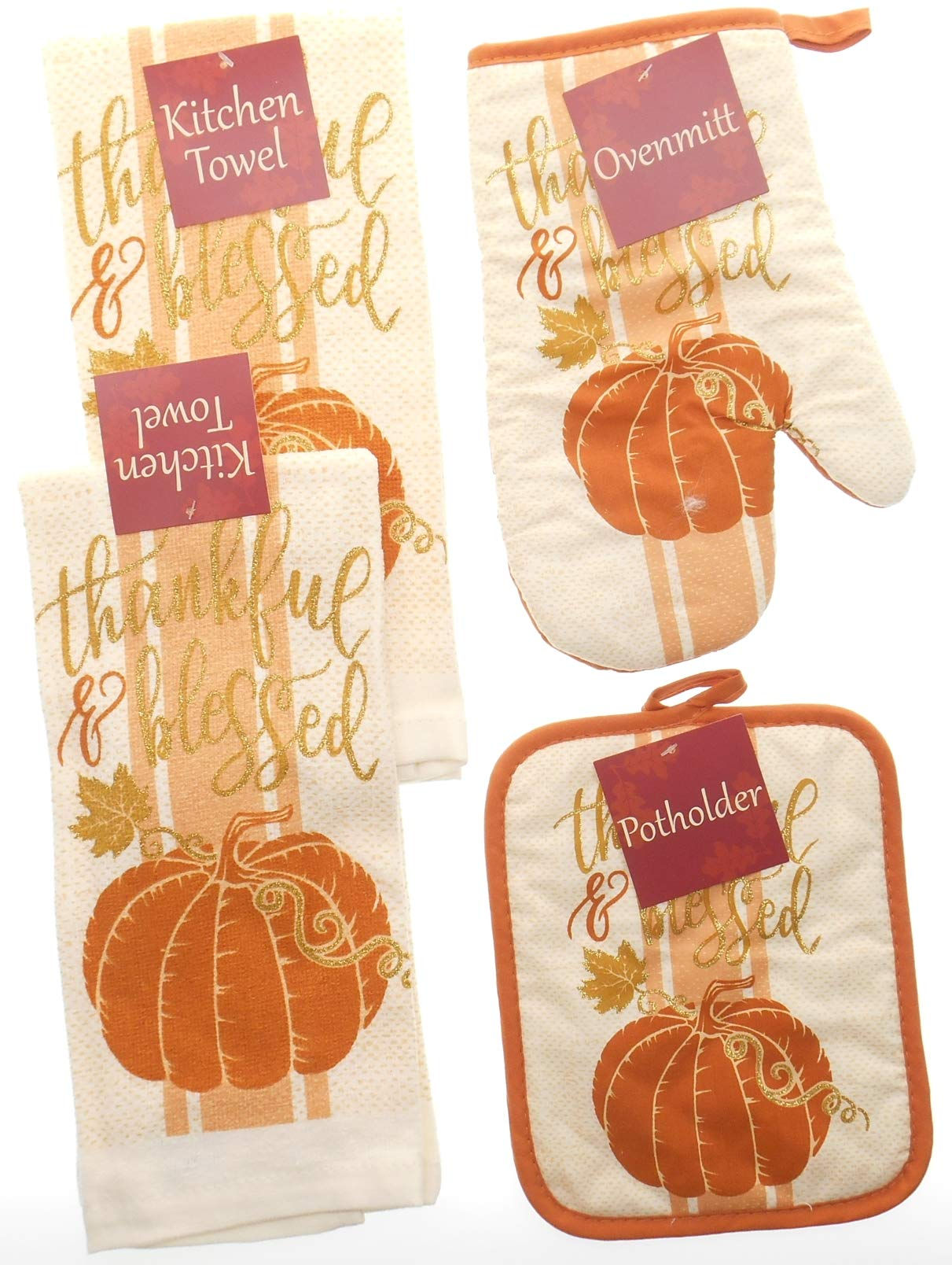 Thankful and Blessed Soft Orange Kitchen Towel Set Accented with Gold Glitter. Bundle of 4 Includes 2 Towels, 1 Oven Mitt and 1 Pot Holder. Fall Kitchen Towels Set.