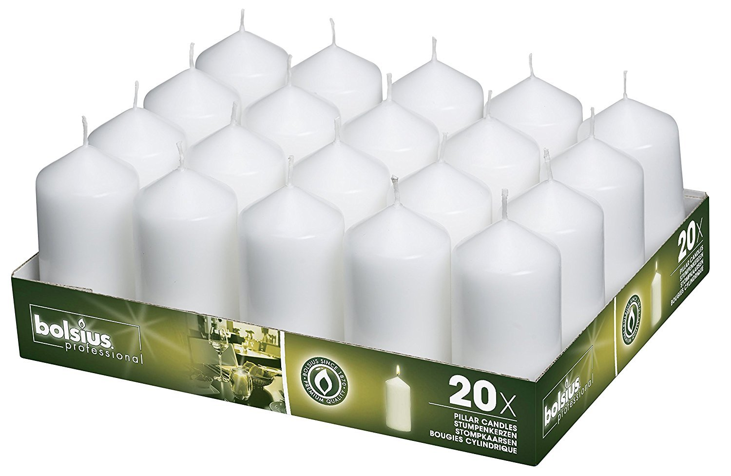 Bolsius Tray Of 20 White Pillar Candles Aprox. 2X4 Inches 4335409243