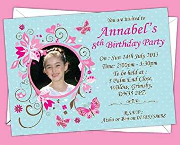 Personalised KidsChildrens Butterfly Themed Birthday Party - Birthday party invitation uk