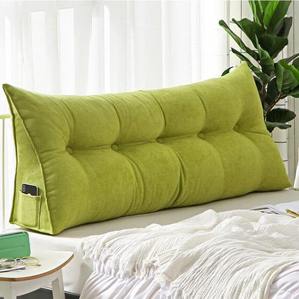 Large cushions triangular cushions triangle cushions on the bed solid color sofa cushions long cushions on the window soft and comfortable removable and washable ( Color : Green , Size : 80X50cm )