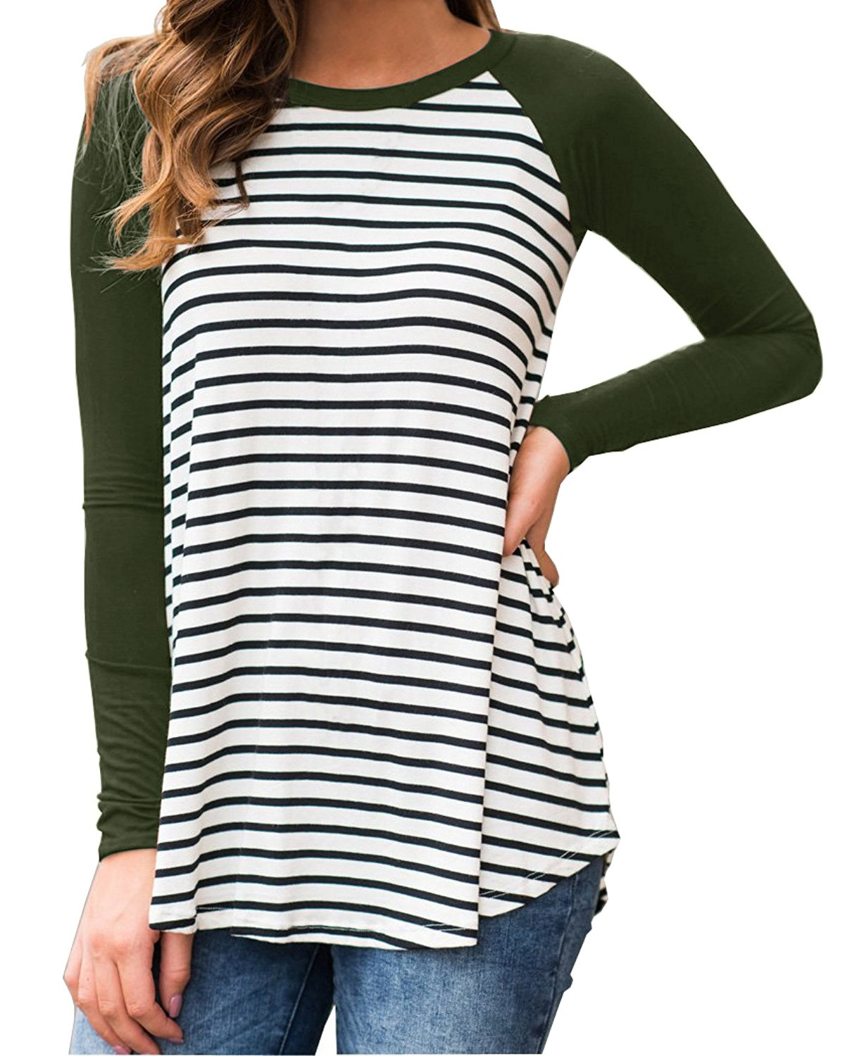 Cnfio Womens Blouses Striped Shirts Long Sleeve Round Neck Patchwork Casual Tops Army Green XL by Cnfio (Image #2)