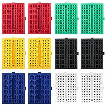 Electrely 12 Piezas Mini Breadboard 170 Puntos Breadboard Placa Prototipo Sin Soldaduras PCB Junta para Arduino Proto Shield: Amazon.es: Electrónica