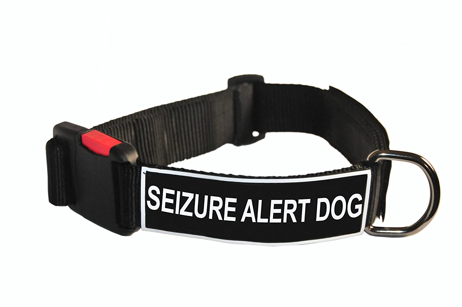 Dean and Tyler Patch Collar , Nylon Dog Collar with SEIZURE ALERT DOG Patches Black Size  Small Fits Neck 18-Inch to 21-Inch