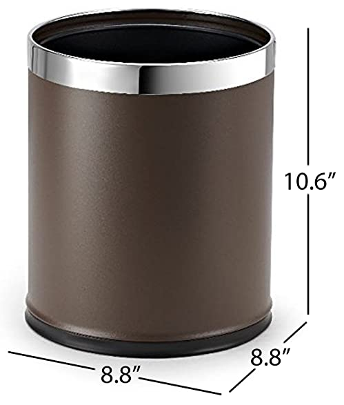 brelso metal trash can open top small office wastebasket