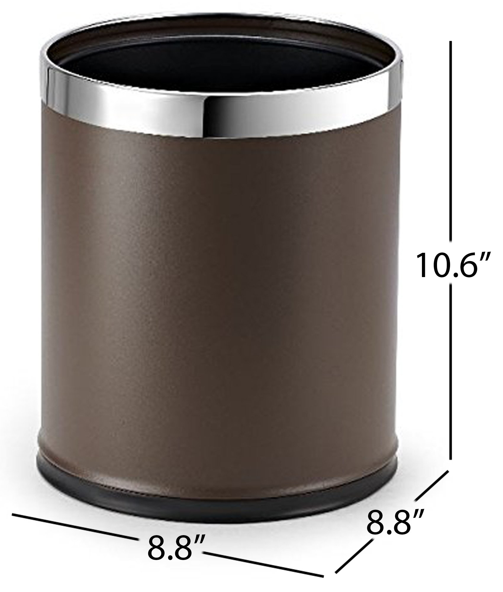 Brelso 'Invisi-Overlap' Metal Trash Can, Open Top Small Office Wastebasket, Round Shape (Brown)