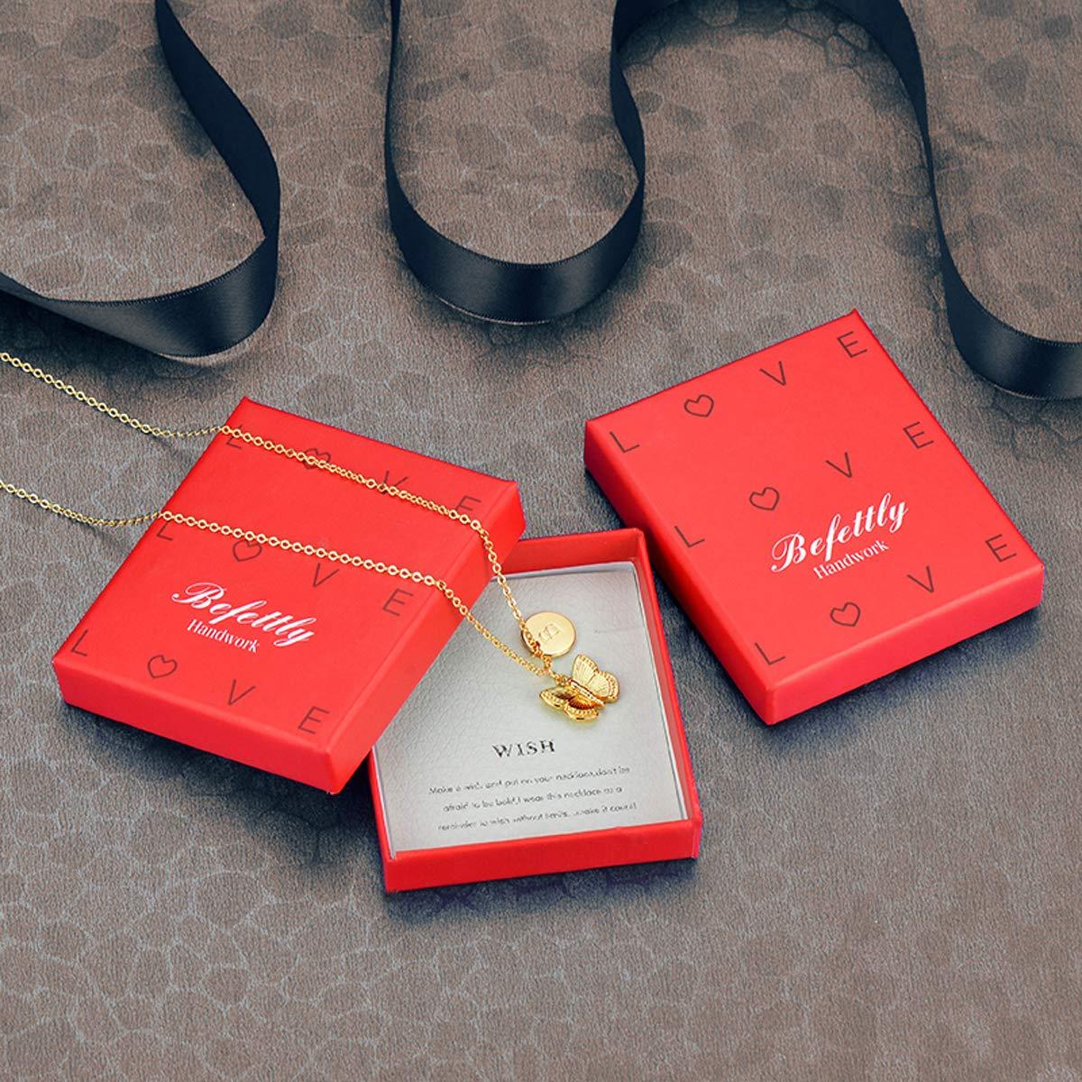 Befettly Collar con Colgante de Mariposa de Inicial, Chapado en Oro DE 14 Quilates, Hecho a Mano, diseño de Mariposa con Colgante de Disco Redondo Inicial: ...