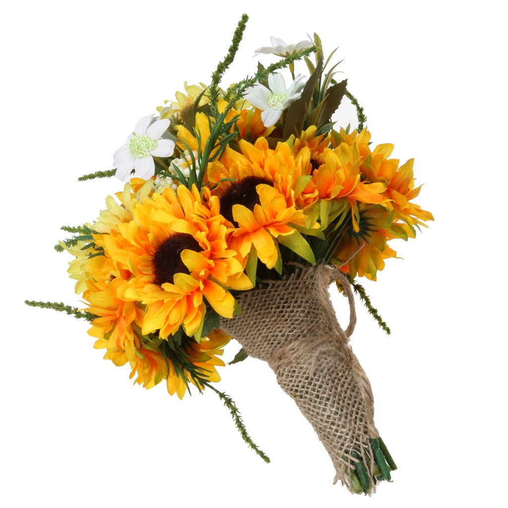 MagiDeal Bridal Bridesmaid Flower Girl Sunflower Bouquet Rustic Wedding Decoration