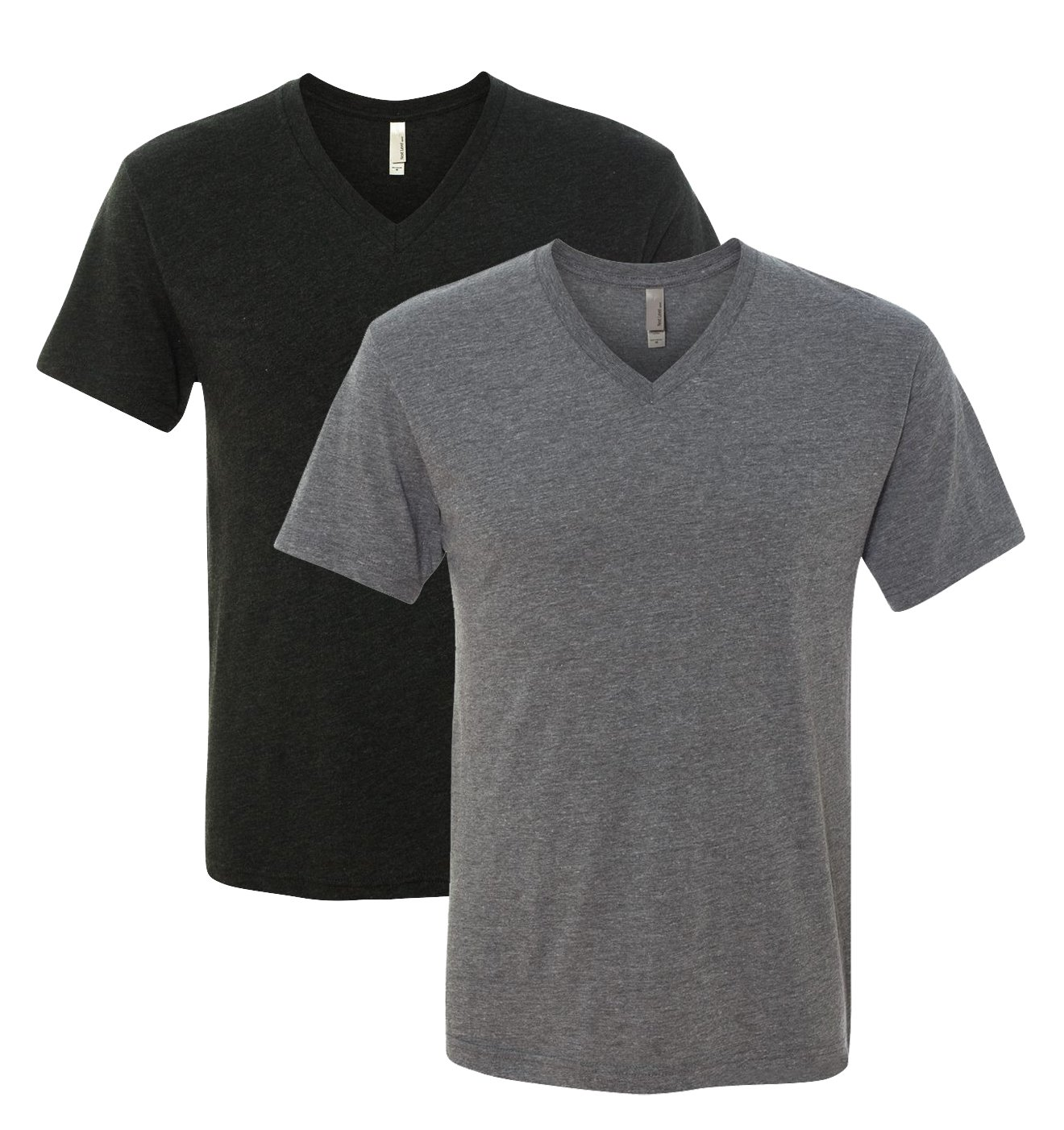 Next Level Triblend Vee Tee, Vintage Black + Premium Heather (2 Pack), Large by Next Level