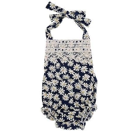 eshoo recién nacido bebé niña plana Flores Pelele Backless Sunsuit Mono azul flores Talla:12