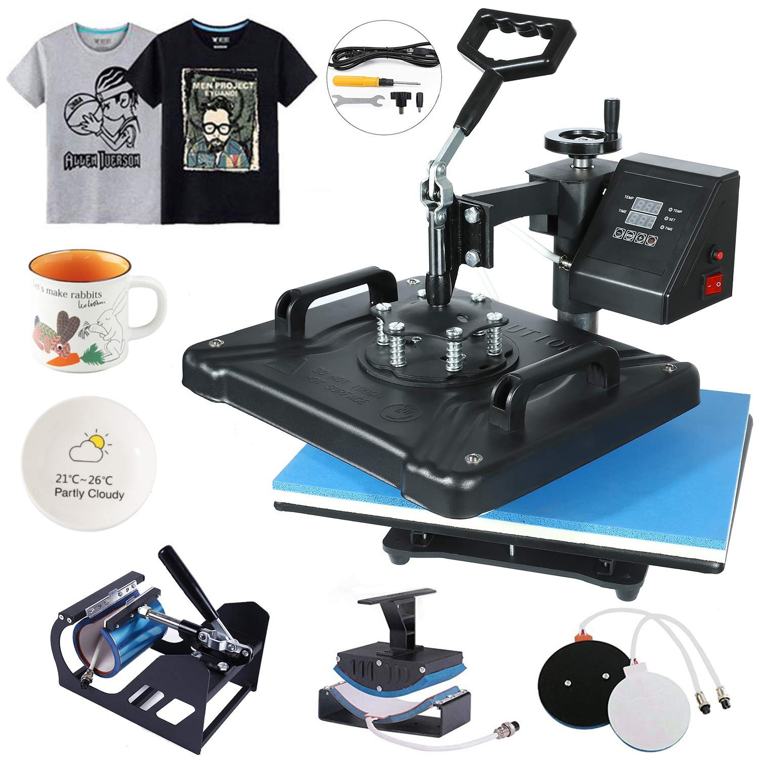 HikeGeek 5 in 1 Heat Press Machine 12 X 15 inch Professional Digital Transfer Sublimation Swing-Away for Hat Mug Plate Cap T-Shirt
