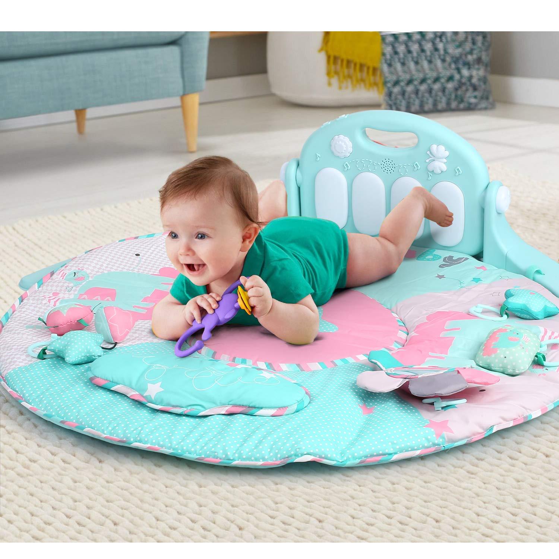 coussin bleu + couleur musique et sons BAMNY Baby Kick and Play Piano Gym Tapis de jeu pour nouveau-n/é avec centre dactivit/és adapt/é d/ès la naissance 0-36 mois