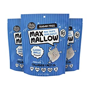 Know Brainer Max Mallow Classic Vanilla | Guilt-Free & Zero Sugar Marshmallows - Low Carb, Zero Fat, Gluten-Free & Ketogenic | Marshmallow Fueled with Collagen, MCT Oil & Monkfruit | Pack of 3 (9.9oz)