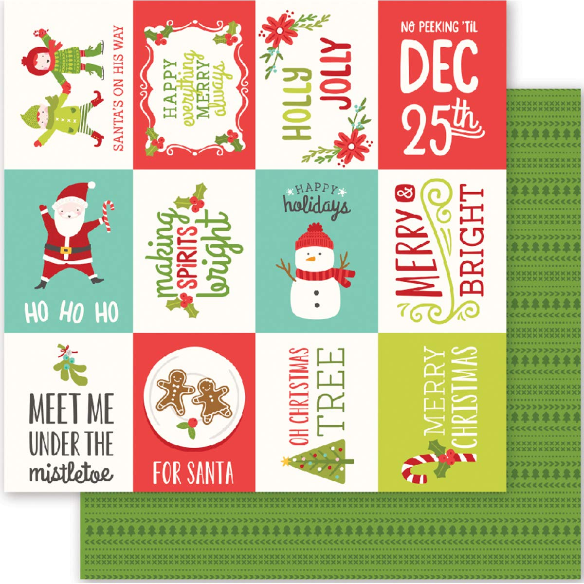 Pebbles Holly Jolly Collection Christmas 12 X 12 Double Sided Paper Happy Holidays (6 Pack)