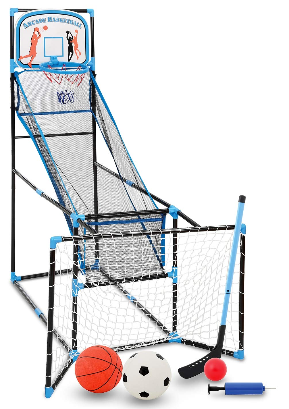 Bundaloo 3 in 1 Arcade Game | Basketball, Soccer, and Hockey Kids Toys | Fun Outdoor and Indoor Ball Games for Boys, Girls, Toddler | Includes 3 Balls, Backboard Hoop, Net Goal, Stick, and Air Pump by Bundaloo (Image #1)