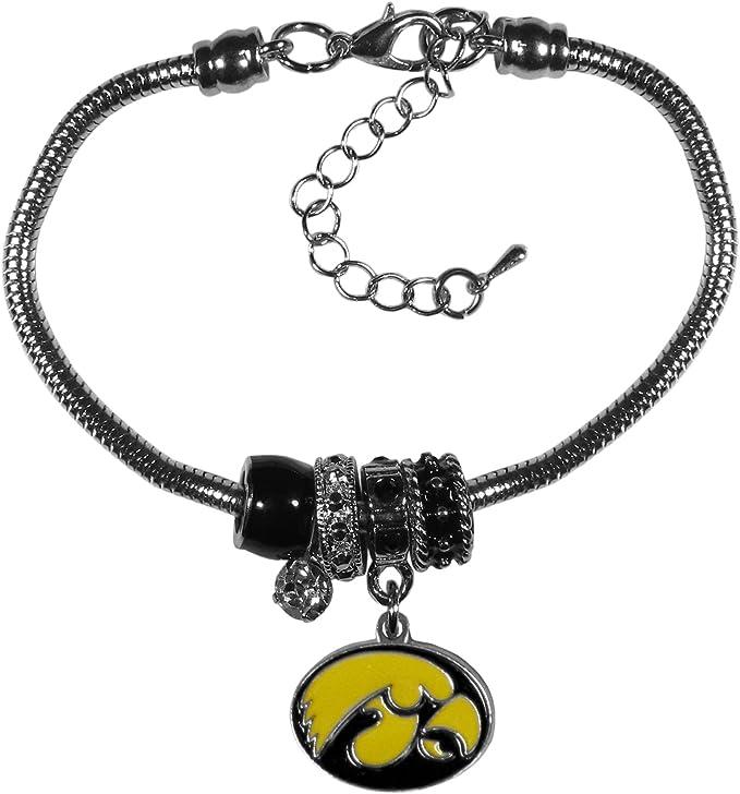 NCAA Siskiyou Sports Womens Iowa Hawkeyes Dangle Earrings and Crystal Bead Bracelet Set One Size Team Color
