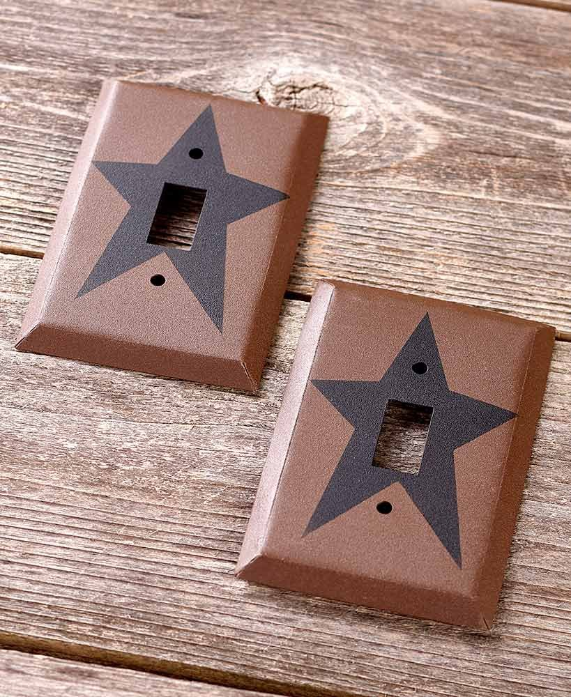 The Lakeside Collection Set of 2 Primitive Country Single Light Switch Plate Covers