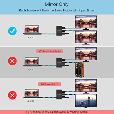 Powered HDMI Splitter Support 3D 4K 1080P for Xbox PS4 PS3 PS5 ...