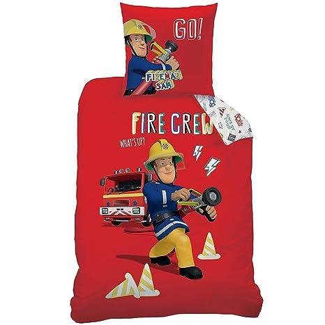 Lenzuola Letto Singolo Sam Il Pompiere.Sam Il Pompiere Parure Di Lenzuola Copripiumino 140 X 200 Federa 63 X 63 100 Cotone Fireman Sam Crew