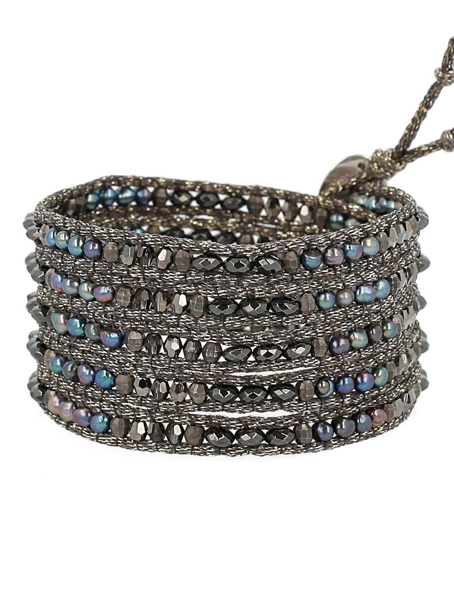 Chan Luu Semi Precious and Freshwater Cultured Pearl Peacock Blue Mix On Grey Metallic Silk Wrap Bracelet by Chan Luu