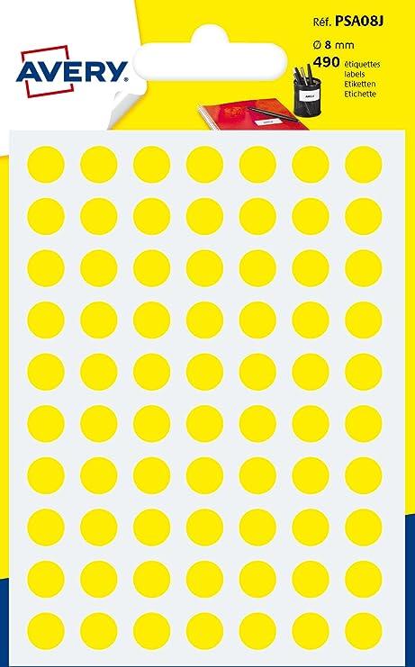 Avery España PSA08J.Bolsa de 420 etiquetas adhesivas redondas color amarillo,8mm: Amazon.es: Oficina y papelería