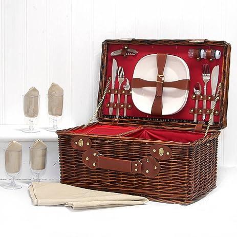 Amazon.com : The Redgrave Picnic Basket Set - Luxury Dark Wicker 4 ...