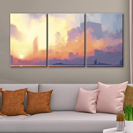 Amazon.com: wall26 - 3 Panel Canvas Wall Art - Oil Painting Style ...