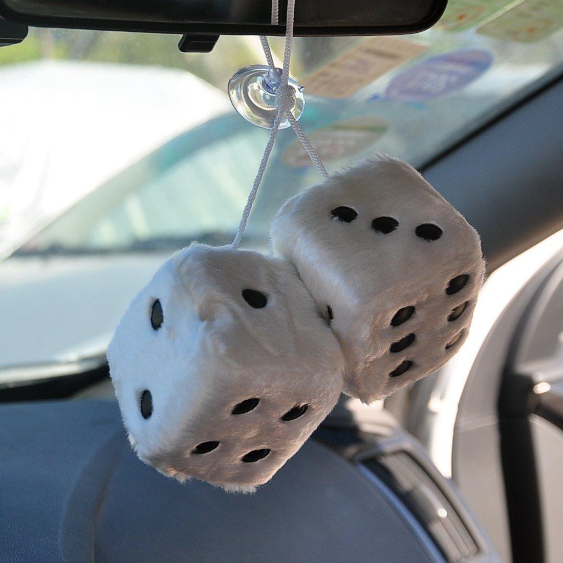 FineInno Plüschwürfel Weiß Auto Plüsch Würfel Autowürfel Fuzzy Dice 7.5 x 7.5 x 7.5cm für Auto, Zimmer, Tisch, Wand, Kühlschrank, Tasche, usw. (Plüsch rot)