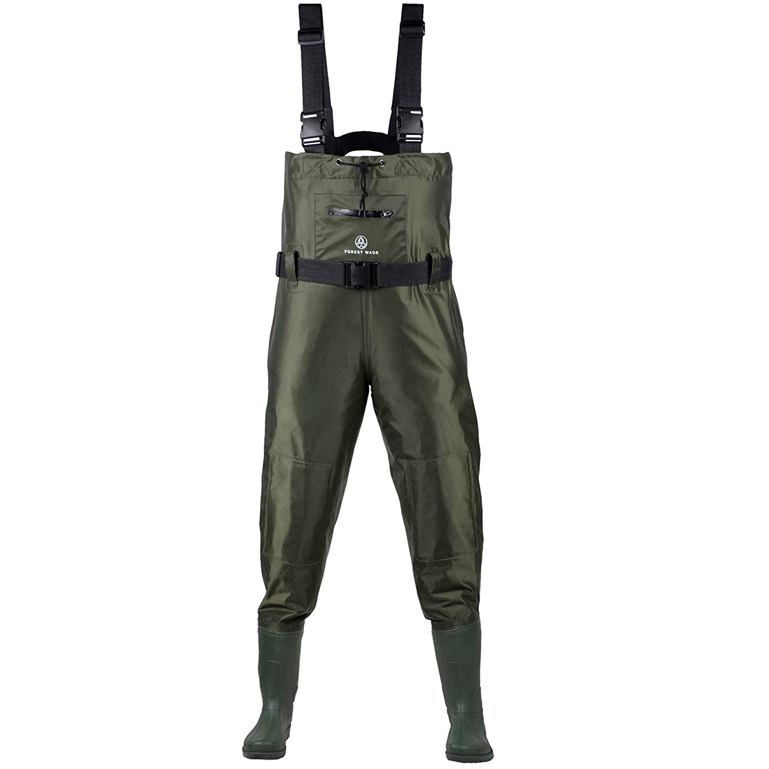 Fishing Chest Waders for Men with Boots – Breathable Nylon PVC Waterproof Fly Fishing, Hunting Bootfoot Wader for Women – Comfortable Mens Fisherman Pants – Large Zippered Pocket Knee Pads