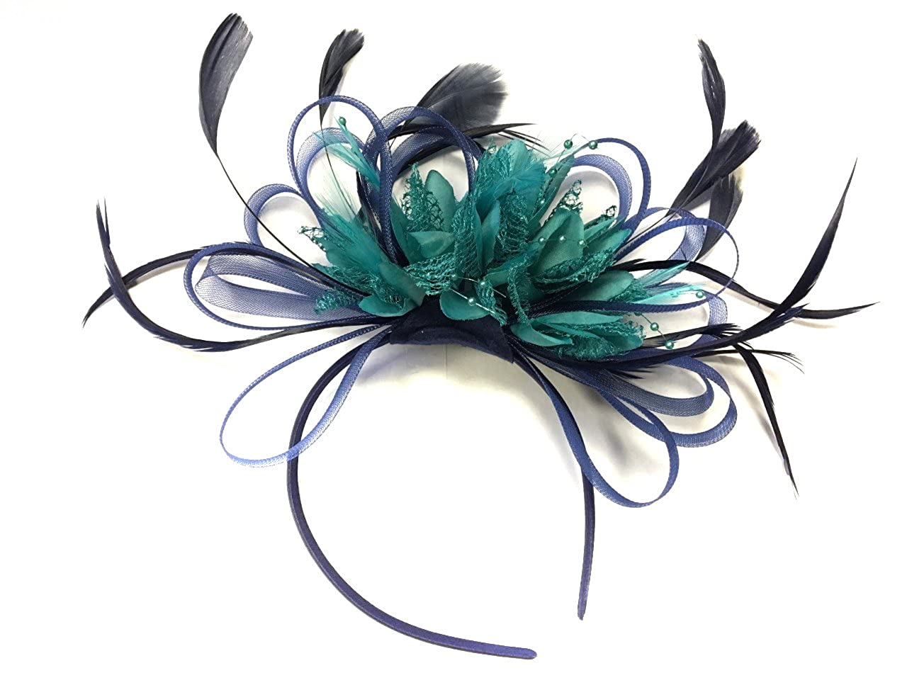 6fd163d40b905 Navy Blue and Teal Net Fascinator Headband Hoop Feather Hair Wedding Royal  Ascot Races at Amazon Women's Clothing store: