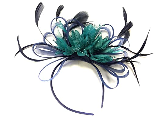 Image Unavailable. Image not available for. Colour  Navy Blue and Teal Net  Fascinator Headband Turquoise ... ad3aceed8bd